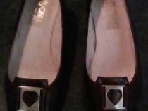 Set geantă + pantofi cu toc piele maro 36 Mondo Class