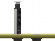 Priza multipla incastrata cu 3 mufe și USB