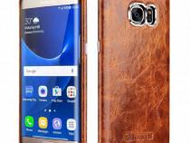 Husa piele naturala cerata iCarer Samsung S7 EDGE maro tabac
