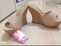 Papuci paltforme 12,5cm, bej nude, comozi, 36,noi
