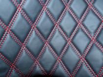 Material Romb tapiterie negru / cusatura rosie