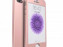Husa Plastic 360 Roz Fata Spate Folie Sticla -Iphone 5 5s SE