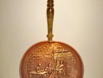 4674-Aplica Tigaie scena Han vechi Ye Olde personaje cupru.