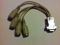 Cablu serial 9 pini la 2 x DIN 5 pini in- 2 x DIN 5 pini out