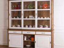 Bufet lemn cu vitrina si usi culisante-Transport gratuit