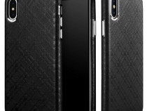 Husa piele naturala iCarer Check iPhone X fara clapeta negru
