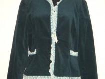 Jacheta din catifea de bumbac verde turcoaz