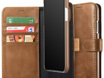 Husa piele 2in1 iCarer iPHONE X tip carte + back cover,maro