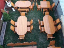 Mobilier Rustic Lemn Masiv Gradina/Terase (mese si scaune)