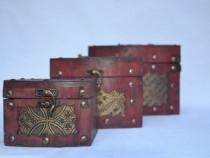 Set 3 cufere ornamentate cu tinte metalice