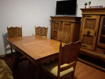 Masa si sase scaune sculptate lemn masiv