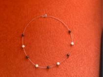 Colier din aur alb cu perle