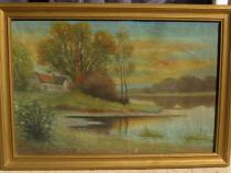 Tablou Peisaj de vara pe lac pictura ulei 43x61cm