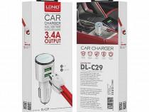 Set Incarcator Auto 2 x USB 3.4A + Cablu Date Lightning Ldni