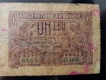 Bancnota 1 leu pusa in circulatie la data 21 decembrie 1938
