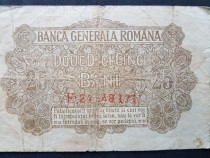 Bancnota 25 bani pusa in circulatie in anul 1917