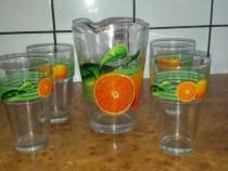 Set carafa si 4 pahare sticla model portocale - Nou