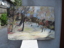 """Peisaj de Iarna"" pictura semnata Leonard Slavu"