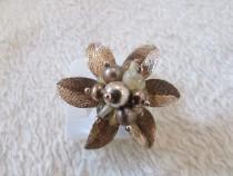 Inel de argint aurit mare model floral reglabil