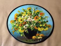 """Pictura """"Flori galbene"""" realizata pe disc pickup din vinyl"""