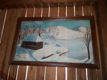 Tablou pictat pe panza, peisaj de iarna, pictor sofinetti