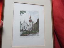 Tablou -gravura Munchen -orașul vechi ,semnata -cadou inedit