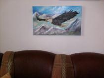 """Tablou """"Vulturul,pradator fara de frica"""", pictura pe panza"""
