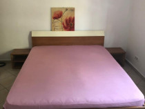 Mobila dormitor completa (pat,dressing,saltea,comoda,noptier