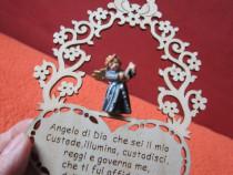 Decoratiune miniatura superba , vintage, din lemn - cu inger