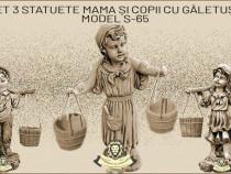 Set 3 statuete, din beton, mama si copii cu galetuse.