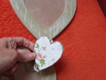 Decoratiune inima x5-Shabby chic-3 rame lemn-un cadou inedit