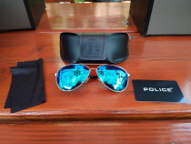 Ochelari Police S1382g Blue Mirror Aviator, rari, originali