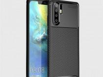 Husa Carbon Slim Silicon Neagra Huawei P30 P30 Lite P30 PRO