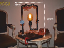 Lampa suport lemn steampunkdesigncj, lampa steampunk