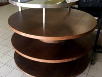 Masa din lemn si sticla rotunda 125 cm