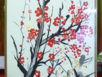 Tablou pictat manual pe panza in ulei , Pictura ramuri copac