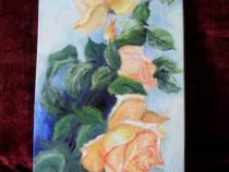 Trandafiri 1-pictura ulei pe carton