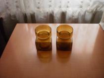 2 vaze din sticla groasa cu model in relief