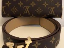 Portofel si curea Louis Vuitton, logo metalic auriu/Franța