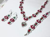 Set bijuterii handmade floral din 3 piese