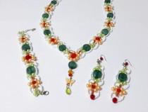 Set bijuterii handmade floral din 3 piese, margele