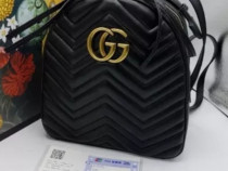 Ghiozdan unisex Gucci, logo metalic auriu, saculet inclus