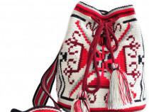 Geanta handmade decorata cu motiv popular din Transilvania