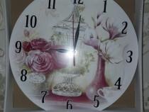 Ceas de perete, model floral/vintage/magnolie și trandafiri