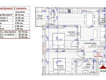 Apartament 3 camere cu gradina 61mp+45mp la alb turnisor