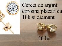 Cercei de argint coroana placati cu aur 18k si diamant