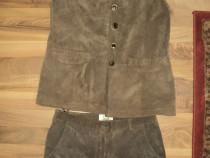 Costum bavarez dama ,vesta si pantaloni ,piele intoarsa S