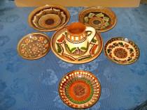 A44-I-Ceramica Hurezu set 7 piese arta populara romaneasca.
