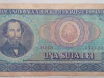 Bancnota bani vechi una suta lei N. Balcescu seria H