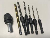 """Set adaptor tip centrotec la 1/4"""" hex si 6x burghie metal"""